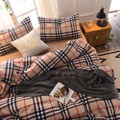 (总)日式全棉32支色织水洗棉四件套简约格子条纹全棉色织水洗棉四件套 1.2m床单款 英伦小格