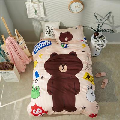 13372新款纯棉全棉卡通大版单人宿舍0.9m床上下铺学生三件套 床单款三件套 被套160*210,床单160*220 布朗熊