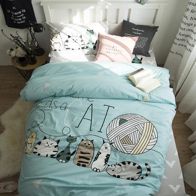 (总)新款纯棉全棉卡通大版单人宿舍0.9m床上下铺学生三件套 床单款三件套 被套160*210,床单160*220 猫家族