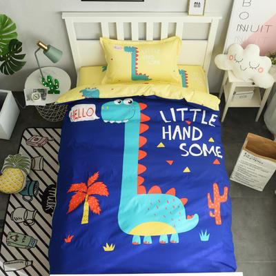 13372新款纯棉全棉卡通大版单人宿舍0.9m床上下铺学生三件套 床单款三件套 被套160*210,床单160*220 小恐龙