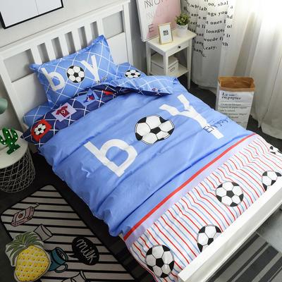 13372新款纯棉全棉卡通大版单人宿舍0.9m床上下铺学生三件套 床单款三件套 被套160*210,床单160*220 足球男孩