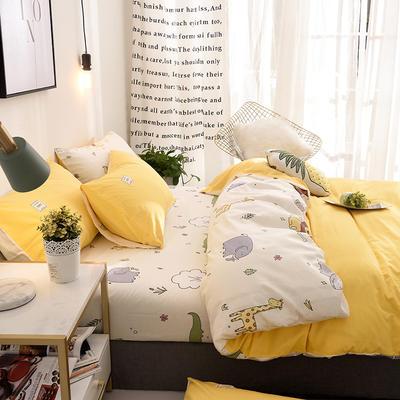 ins北欧简约全棉印花水洗棉网红民宿被套床单宿舍四件套 1.2m(4英尺)床 动物园