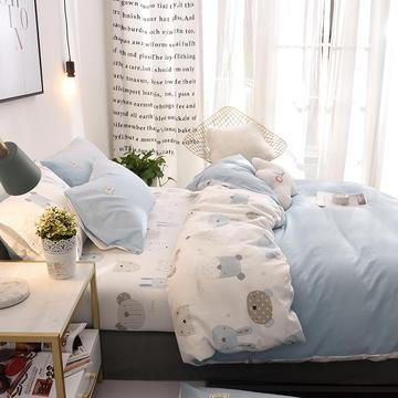 2020春夏新品ins北欧简约全棉印花水洗棉网红民宿被套床单宿舍四件套