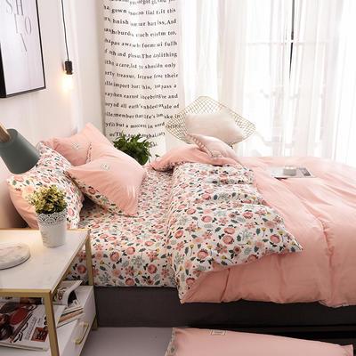 ins北欧简约全棉印花水洗棉网红民宿被套床单宿舍四件套 1.2m(4英尺)床 花都蜜语
