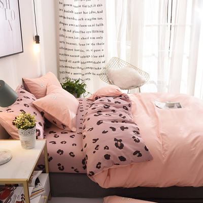 ins北欧简约全棉印花水洗棉网红民宿被套床单宿舍四件套 1.2m(4英尺)床 野魅