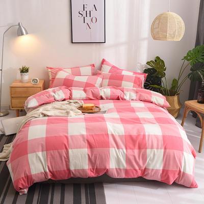 (总)日式全棉32支色织水洗棉四件套简约格子条纹全棉色织水洗棉四件套 2.0m加大床单款 红大格