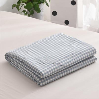 (总)全棉色织水洗棉夏被新疆棉花夏被空调被水洗棉夏被 枕套一只 淡蓝小格