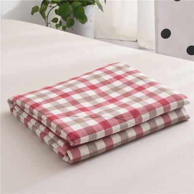 (总)全棉色织水洗棉夏被新疆棉花夏被空调被水洗棉夏被 夏被150x200cm 红咖中格