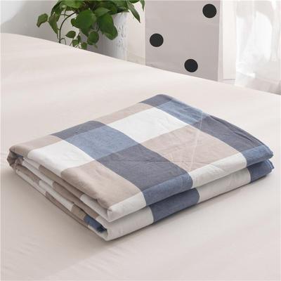 (总)全棉色织水洗棉夏被新疆棉花夏被空调被水洗棉夏被 枕套一只 蓝大格