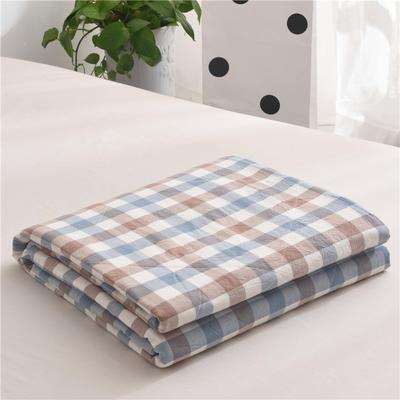 (总)全棉色织水洗棉夏被新疆棉花夏被空调被水洗棉夏被 枕套一只 蓝咖中格