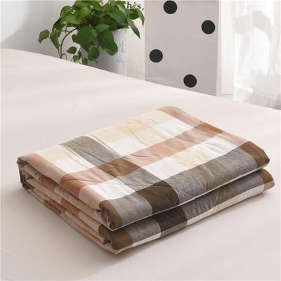 (总)全棉色织水洗棉夏被新疆棉花夏被空调被水洗棉夏被 枕套一只 咖彩格