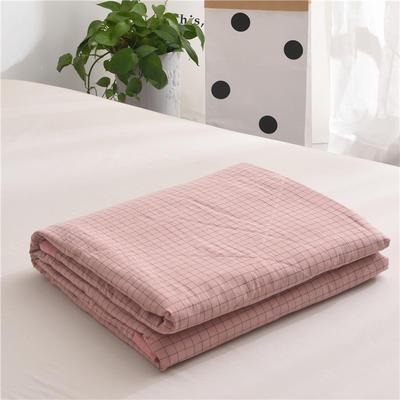 (总)全棉色织水洗棉夏被新疆棉花夏被空调被水洗棉夏被 夏被150x200cm 小粉格