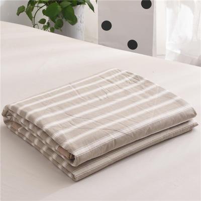 (总)全棉色织水洗棉夏被新疆棉花夏被空调被水洗棉夏被 枕套一只 卡其宽条
