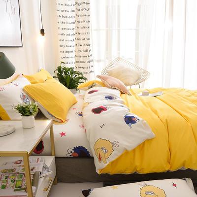 ins北欧简约全棉印花水洗棉网红民宿被套床单宿舍四件套 1.2m(4英尺)床 芝麻街