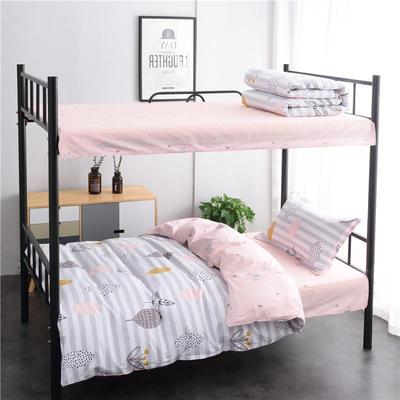 13372新款纯棉全棉简约单人大学生宿舍条格0.9m床上下铺学生三件套 床单款三件套1.2m(4英尺)床 春意