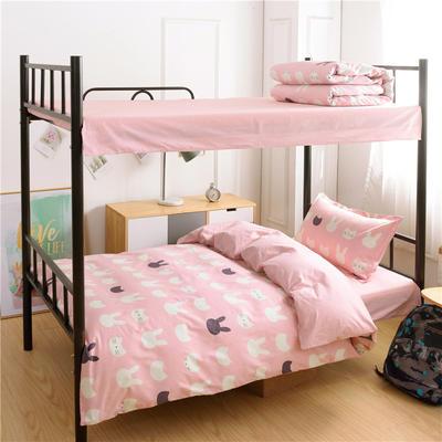 13372新款纯棉全棉简约单人大学生宿舍条格0.9m床上下铺学生三件套 床单款三件套1.2m(4英尺)床 动物派对