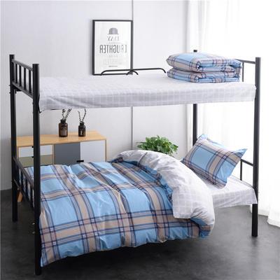 13372新款纯棉全棉简约单人大学生宿舍条格0.9m床上下铺学生三件套 床单款三件套1.2m(4英尺)床 都市密码