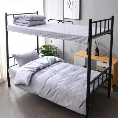 13372新款纯棉全棉简约单人大学生宿舍条格0.9m床上下铺学生三件套 床单款三件套1.2m(4英尺)床 多元空间