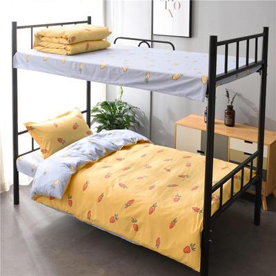 13372新款纯棉全棉简约单人大学生宿舍条格0.9m床上下铺学生三件套 床单款三件套1.2m(4英尺)床 胡萝卜