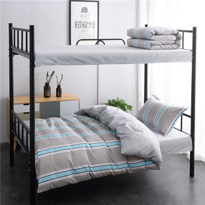 13372新款纯棉全棉简约单人大学生宿舍条格0.9m床上下铺学生三件套 床单款三件套1.2m(4英尺)床 青春条纹