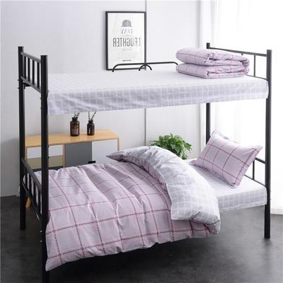 13372新款纯棉全棉简约单人大学生宿舍条格0.9m床上下铺学生三件套 床单款三件套1.2m(4英尺)床 时间轨迹