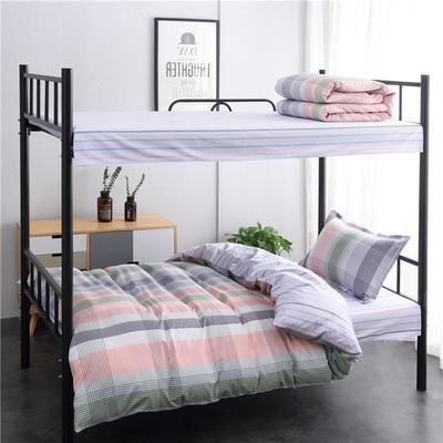 13372新款纯棉全棉简约单人大学生宿舍条格0.9m床上下铺学生三件套 床单款三件套1.2m(4英尺)床 拾忆青春