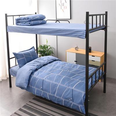 13372新款纯棉全棉简约单人大学生宿舍条格0.9m床上下铺学生三件套 床单款三件套1.2m(4英尺)床 水立方