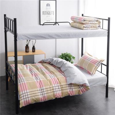 13372新款纯棉全棉简约单人大学生宿舍条格0.9m床上下铺学生三件套 床单款三件套1.2m(4英尺)床 岁月静好