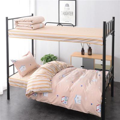 13372新款纯棉全棉简约单人大学生宿舍条格0.9m床上下铺学生三件套 床单款三件套1.2m(4英尺)床 童话镇