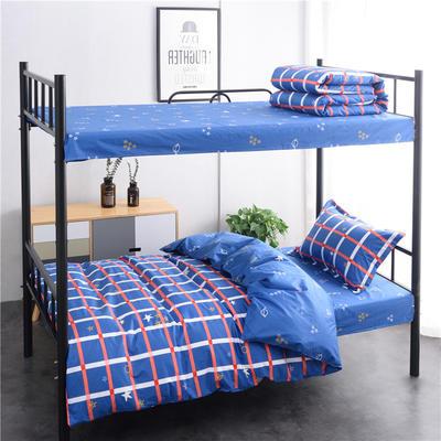 13372新款纯棉全棉简约单人大学生宿舍条格0.9m床上下铺学生三件套 床单款三件套1.2m(4英尺)床 星空遐想