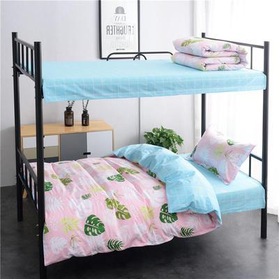 13372新款纯棉全棉简约单人大学生宿舍条格0.9m床上下铺学生三件套 床单款三件套1.2m(4英尺)床 叶之语
