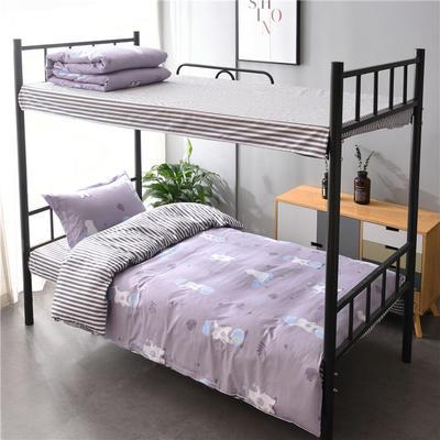 13372新款纯棉全棉简约单人大学生宿舍条格0.9m床上下铺学生三件套 床单款三件套1.2m(4英尺)床 杂技熊