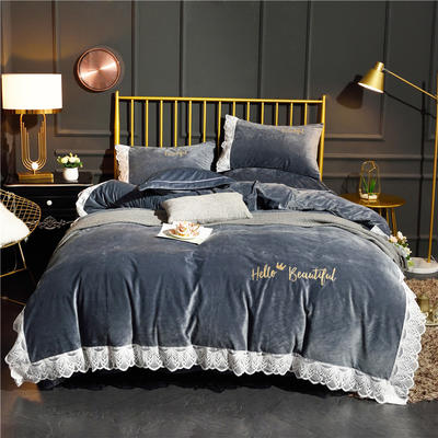 2019爆款保暖公主蕾丝花边款绣花宝宝绒水晶绒法兰绒四件套 床单款1.8m(6英尺)床 蕾丝款-绅士灰