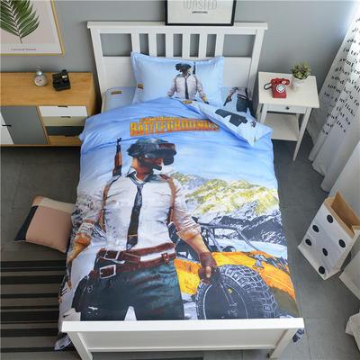 新款纯棉全棉卡通大版单人宿舍0.9m床上下铺学生三件套 床单款三件套 1.2m(4英尺)床 绝地求生