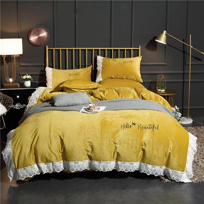ins网红新款秋冬加厚保暖蕾丝花边款纯色宝宝绒水晶绒绣花四件套 床单款1.8m(6英尺)床 柠檬黄
