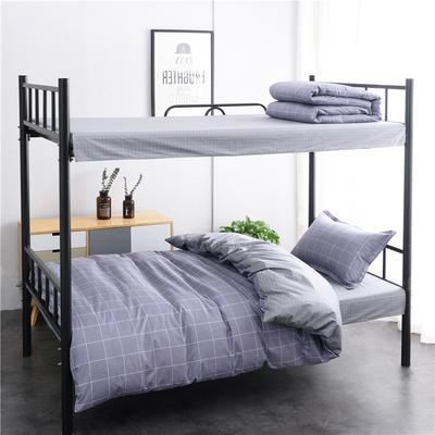 (总)全棉13372简约条格学生宿舍床品单人床单款三件套 1.2m床 床单1.6 品格人生