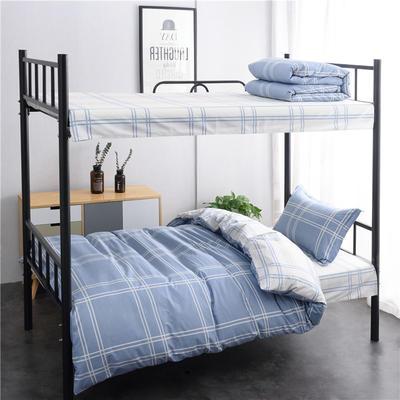 (总)全棉13372简约条格学生宿舍床品单人床单款三件套 1.2m床 床单1.6 品位格调