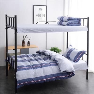 (总)全棉13372简约条格学生宿舍床品单人床单款三件套 1.2m床 床单1.6 青春如歌