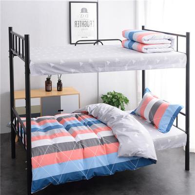(总)全棉13372简约条格学生宿舍床品单人床单款三件套 1.2m床 床单1.6 午后时光