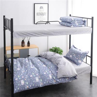 (总)全棉13372简约条格学生宿舍床品单人床单款三件套 1.2m床 床单1.6 友情岁月