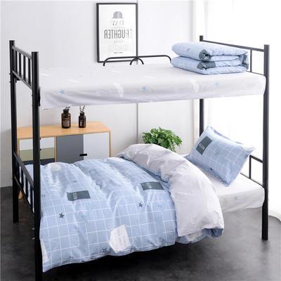 (总)全棉13372简约条格学生宿舍床品单人床单款三件套 1.2m床 床单1.6 早安