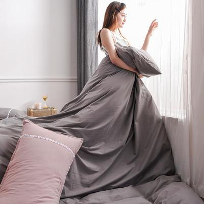 2020新款-全棉水洗棉简约纯色混搭单品被套床单纯棉四件套 床单款四件套1.5m(5英尺)床 双拼-灰色+浅粉
