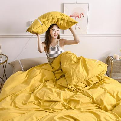 2020新款-全棉水洗棉简约纯色混搭单品被套床单纯棉四件套 床单款三件套1.2m(4英尺)床 双拼-姜黄+卡其