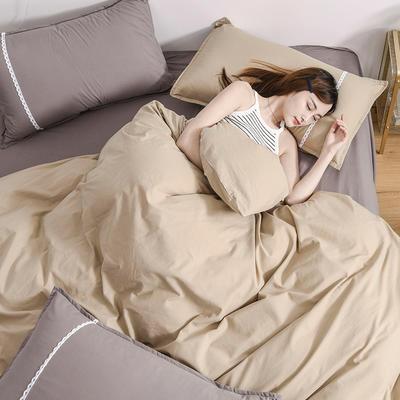 2020新款-全棉水洗棉简约纯色混搭单品被套床单纯棉四件套 床单款四件套1.5m(5英尺)床 双拼-卡其+灰色