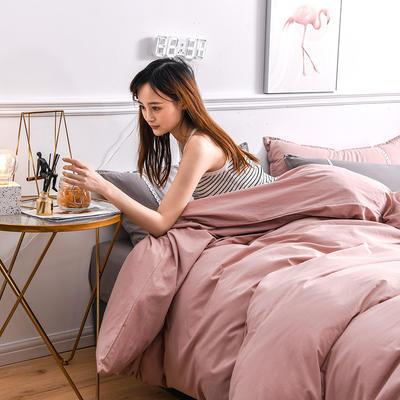 2020新款-全棉水洗棉简约纯色混搭单品被套床单纯棉四件套 床单款三件套1.2m(4英尺)床 双拼-浅粉+灰色