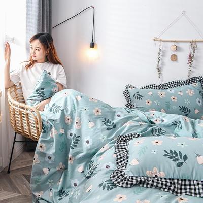 2020新款-全棉13070小碎花款韩版花边公主款纯棉四件套 床单款三件套1.2m(4英尺)床 春暖花开