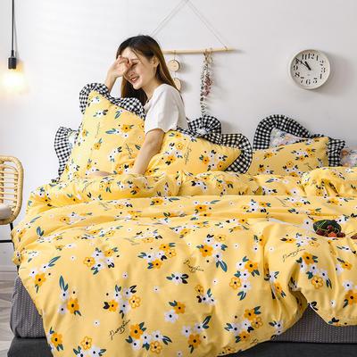 2020新款-全棉13070小碎花款韩版花边公主款纯棉四件套 床单款三件套1.2m(4英尺)床 花房迷香