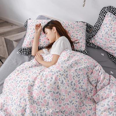 2020新款-全棉13070小碎花款韩版花边公主款纯棉四件套 床单款三件套1.2m(4英尺)床 悠悠花海-粉