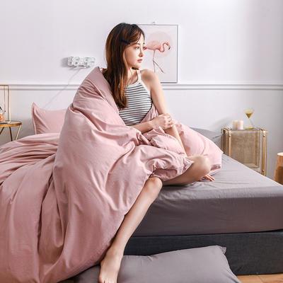 2020新款-全棉水洗棉纯色系列单品被套 200X230cm 简约粉