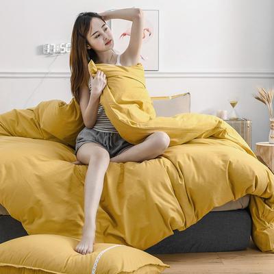 2020新款-全棉水洗棉纯色系列单品被套 200X230cm 简约黄